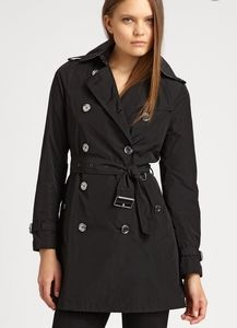 Burberry Brit Double Breasted Black Trench Coat